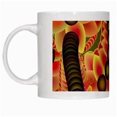 Abstract Background Digital Green White Mugs