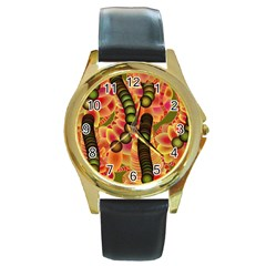 Abstract Background Digital Green Round Gold Metal Watch