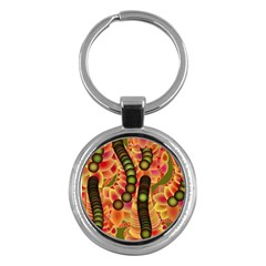 Abstract Background Digital Green Key Chains (round)