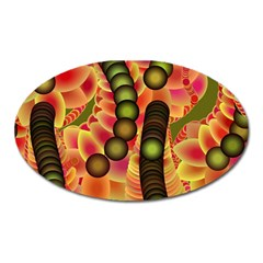 Abstract Background Digital Green Oval Magnet