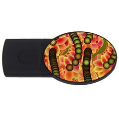 Abstract Background Digital Green USB Flash Drive Oval (1 GB)