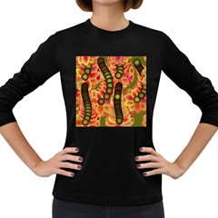 Abstract Background Digital Green Women s Long Sleeve Dark T Shirts