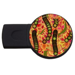 Abstract Background Digital Green USB Flash Drive Round (4 GB)