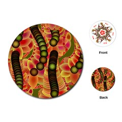 Abstract Background Digital Green Playing Cards (Round)