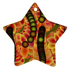 Abstract Background Digital Green Star Ornament (Two Sides)
