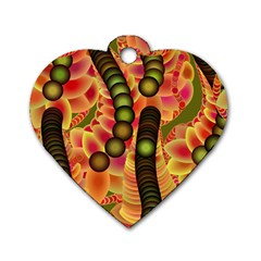 Abstract Background Digital Green Dog Tag Heart (One Side)