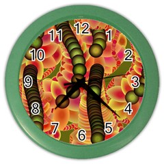 Abstract Background Digital Green Color Wall Clocks