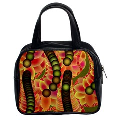 Abstract Background Digital Green Classic Handbags (2 Sides)