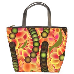 Abstract Background Digital Green Bucket Bags