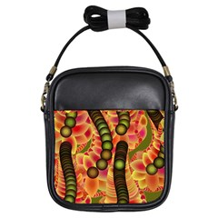 Abstract Background Digital Green Girls Sling Bags