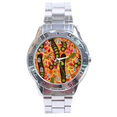 Abstract Background Digital Green Stainless Steel Analogue Watch