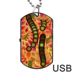 Abstract Background Digital Green Dog Tag Usb Flash (two Sides)