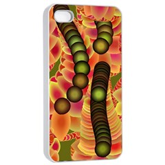 Abstract Background Digital Green Apple Iphone 4/4s Seamless Case (white)