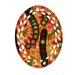 Abstract Background Digital Green Oval Filigree Ornament (Two Sides)