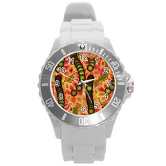 Abstract Background Digital Green Round Plastic Sport Watch (l)