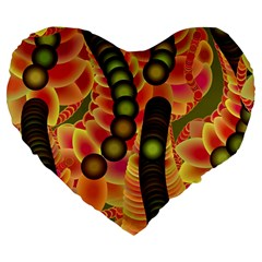 Abstract Background Digital Green Large 19  Premium Heart Shape Cushions