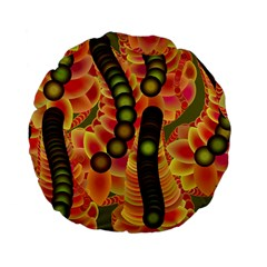 Abstract Background Digital Green Standard 15  Premium Flano Round Cushions