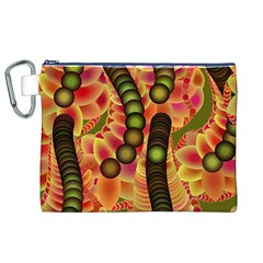 Abstract Background Digital Green Canvas Cosmetic Bag (xl)