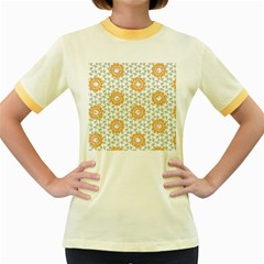 Stamping Pattern Fashion Background Women s Fitted Ringer T-Shirts