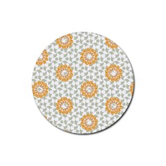Stamping Pattern Fashion Background Rubber Round Coaster (4 Pack)