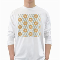 Stamping Pattern Fashion Background White Long Sleeve T-Shirts