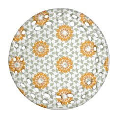 Stamping Pattern Fashion Background Round Filigree Ornament (Two Sides)