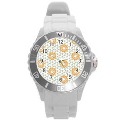 Stamping Pattern Fashion Background Round Plastic Sport Watch (l)