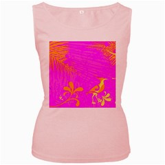 Spring Tropical Floral Palm Bird Women s Pink Tank Top