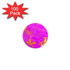 Spring Tropical Floral Palm Bird 1  Mini Magnets (100 Pack)