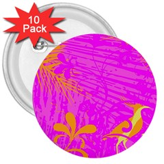 Spring Tropical Floral Palm Bird 3  Buttons (10 pack)