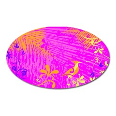 Spring Tropical Floral Palm Bird Oval Magnet