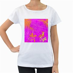 Spring Tropical Floral Palm Bird Women s Loose Fit T Shirt (white)