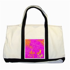 Spring Tropical Floral Palm Bird Two Tone Tote Bag