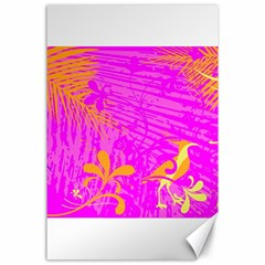 Spring Tropical Floral Palm Bird Canvas 24  x 36