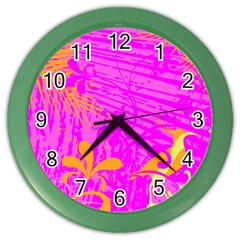 Spring Tropical Floral Palm Bird Color Wall Clocks