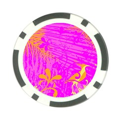 Spring Tropical Floral Palm Bird Poker Chip Card Guard
