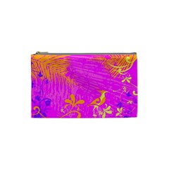 Spring Tropical Floral Palm Bird Cosmetic Bag (small)