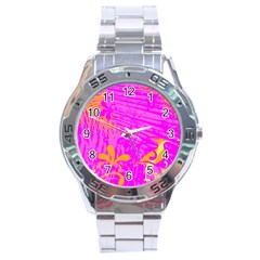 Spring Tropical Floral Palm Bird Stainless Steel Analogue Watch