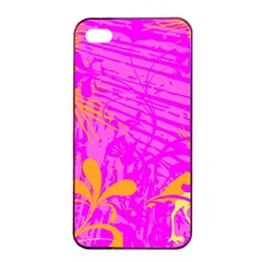Spring Tropical Floral Palm Bird Apple iPhone 4/4s Seamless Case (Black)