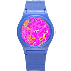 Spring Tropical Floral Palm Bird Round Plastic Sport Watch (s)