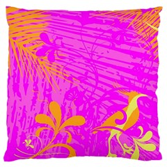 Spring Tropical Floral Palm Bird Large Cushion Case (Two Sides)
