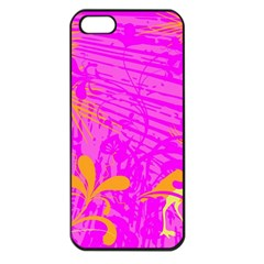 Spring Tropical Floral Palm Bird Apple iPhone 5 Seamless Case (Black)