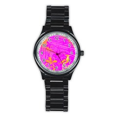 Spring Tropical Floral Palm Bird Stainless Steel Round Watch