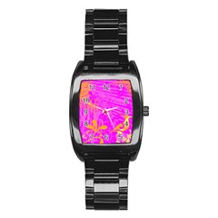 Spring Tropical Floral Palm Bird Stainless Steel Barrel Watch
