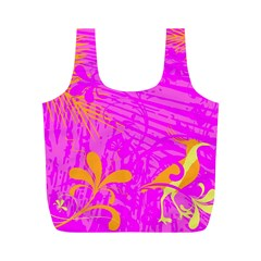 Spring Tropical Floral Palm Bird Full Print Recycle Bags (m)