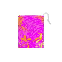Spring Tropical Floral Palm Bird Drawstring Pouches (XS)