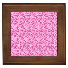 Shocking Pink Camouflage Pattern Framed Tiles