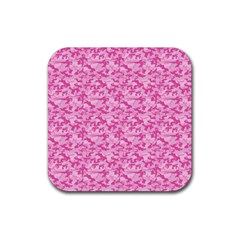 Shocking Pink Camouflage Pattern Rubber Square Coaster (4 pack)