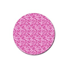 Shocking Pink Camouflage Pattern Rubber Round Coaster (4 Pack)