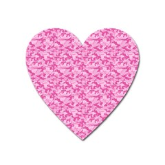 Shocking Pink Camouflage Pattern Heart Magnet